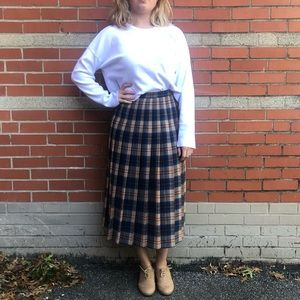 Pendleton Vintage Virgin Wool Plaid Pleated Skirt